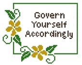 cross stitch pattern Govern Yourself Accordingly floral pdf embroidery