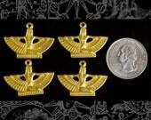 Four Raw Brass Mini Winged Egyptian Goddess Pendants or Charms B-P57