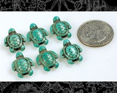 Six Turquoise Blue Turtle Beads  Bead:B8