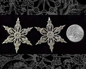 Two Silver Plated Brass Star Shaped Floral Wraps S-W28