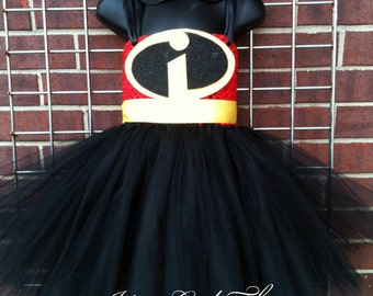 Incredibles Superhero Inspired Tutu Dress - Up to Size 6