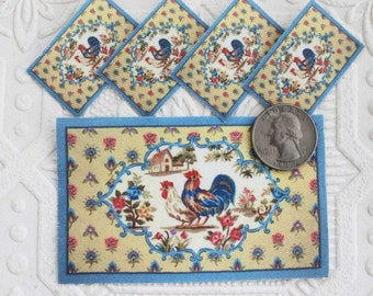 Dollhouse Miniature Placemats and Rug Set in Rooster Design 1:12 Scale