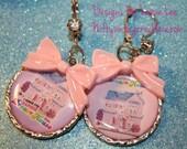 Kawaii Barbie Earrings Dollhouse fairy kei Rhinestone leverback lolita Bows Silver accent