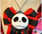 Jack Skellington Necklace Huge Red and Black Bow necklace Cosplay kitschy Halloween is upon us
