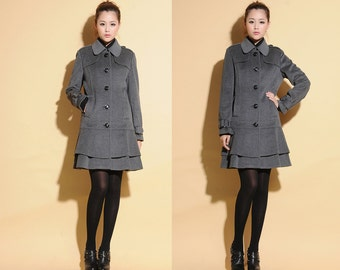 Winter eise Double-layer Skirt Pure Wool Coat  / Low Waist  Wool Long Jacket/ 17 Colors/ RAMIES