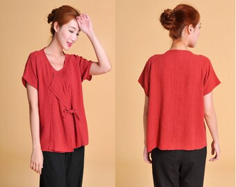 False Two-Pieces  Silk Blouse with Pleats/ 21 Colors/ RAMIES