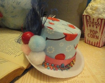 Cherry Blue Mini Top hat - Kawaii Sweets Tea party - Candy Land Stripes Colorful Peacock Feather Fascinator