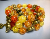 Autumn Leaves Beaded MEMORY Wire BRACELET