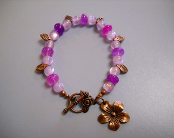Glowing PURPLE Agate and LILAC Fiber Optic Beaded Bracelet with Antique Copper Accents