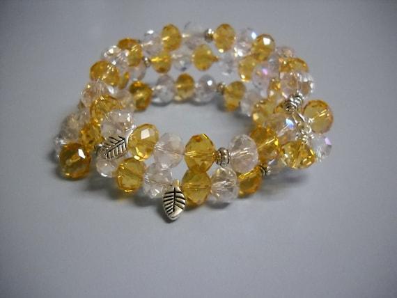 Elegant CRYSTAL and TOPAZ Beaded Memory Wire Bracelet