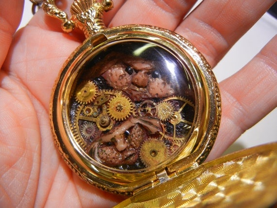 Gremlin Pocket Watch Sculpture, Steampunk Train Watch, OOAK Hand Sculpted, Steampunk Costume, Fantasy Costume
