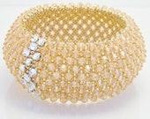 Elegant Swarovski Bracelet - Light Peach with Strass, Wedding Jewelry