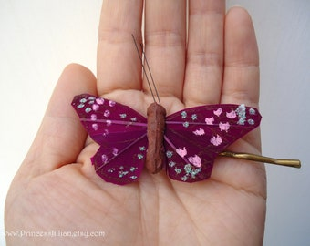 Nature inspired bobby pins - Magenta glitter butterfly fun simple nature woodland decorative embellish hair accessories TREASURY ITEM