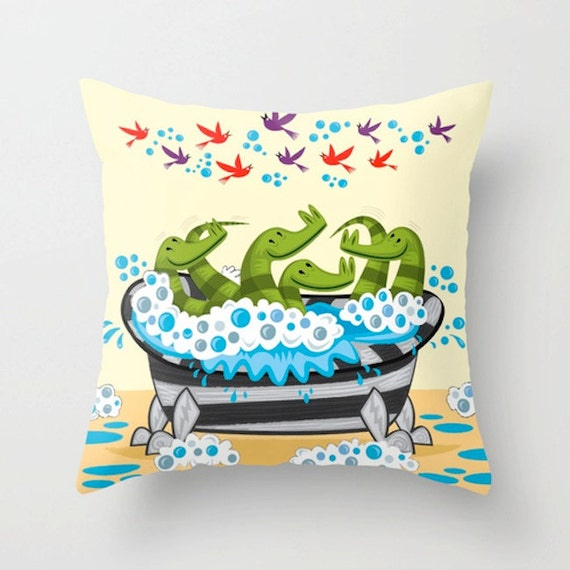 "Crocodile Soup - Cream Throw Pillow / Cushion Cover - Children's Decor - Children's Room - (16"" x 16"") iOTA iLLUSTRATION"
