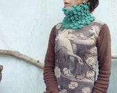 Bumble Bobble Cowl, hand knitted bobble cowl in jade wool and alpaca