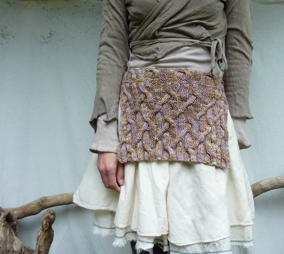 Ancestors Apron, hand-knitted in pure merino wool, layered look, Scottish, READY TO SHIP