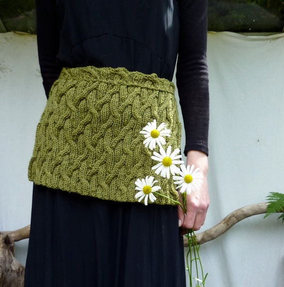 Forest Ancestors Apron, hand-knitted in pea green pure merino wool, READY TO SHIP
