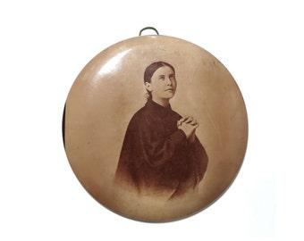 antique photo medallion babe