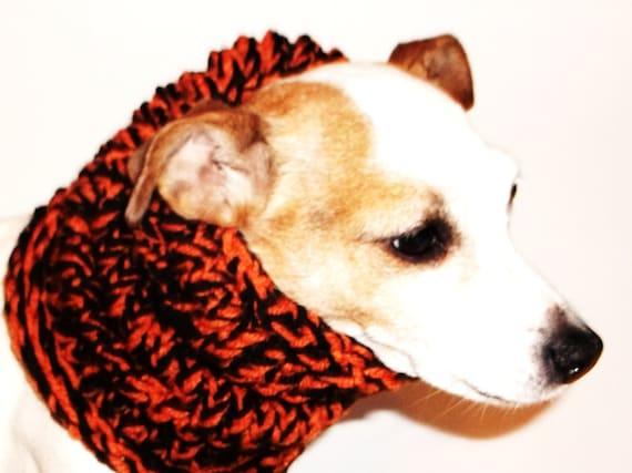 Dog Hoodie Cowl Neck Warmer Orange and Black Knit