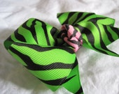 Lime Green and Hot Pink WIld Child Zebra Hair Bow