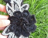 Black and Silver Flower Headband Adult
