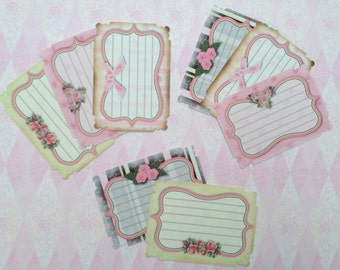Shabby Chic Note Cards Gift Tags set of 8  No.424
