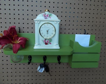 Mail Organizer/Entryway Shelf/ Letter Holder/Mason Jar Flower Vase/Pencil Holder/3 Key Hooks