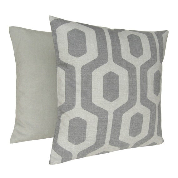 Geometric Pillow Cover 16x16 Cushion Cover - Keyhole Dove Grey