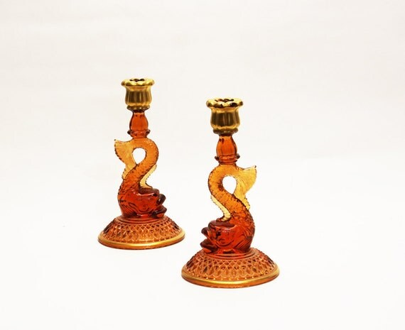 Reserved - Dolphin Candlesticks - Amber, Cambridge, Depression