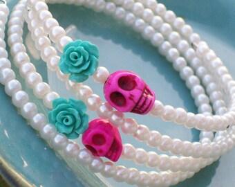 Sugar Skull Bracelet Memory Wire Bracelet