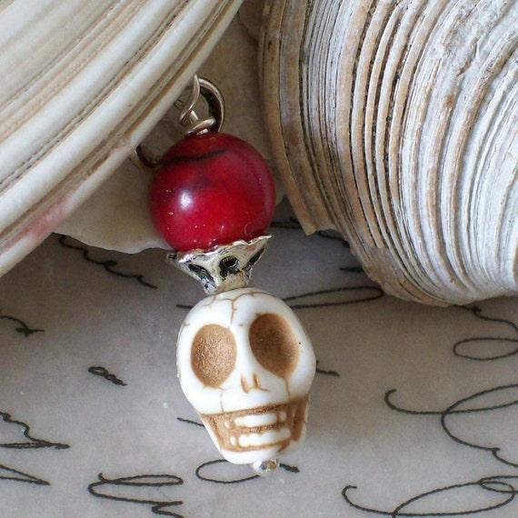 Rockabilly Skull Day of the Dead Sugar Skull Charm