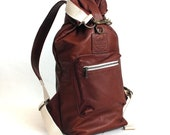 Roll Top Sack - Brown Leather