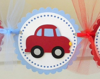 Little Red Car Happy Birthday Party Banner