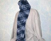 Winter scarf, handknit,  royal blue, black, white, item ZO2