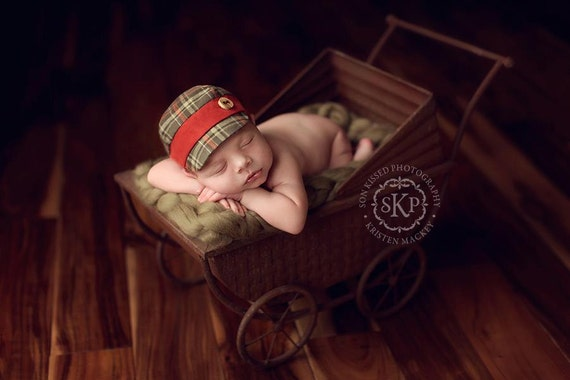 newborn BOY fabric hat with button (Hugo) - photography prop - tan, rust, brown