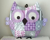 Patchwork Owl, Owl Plush Toy, Stuffed Animal, Owl Pillow, Lilac and Gray