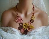 Bridesmaids Turkish Oya gift crochet hardal gul kurusu brown necklace