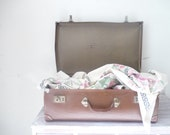 RESERVED for Donna - Old Brown Board Suitcase - storage/décor/wedding