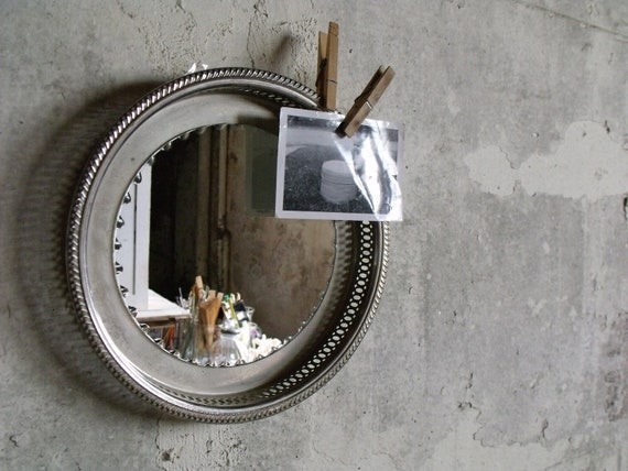 Vintage Rimmed Metal Tray with Mirror