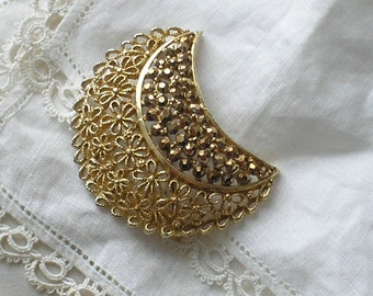 SALE! Vintage Gold Marcasite Crescent Moon Brooch