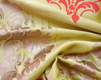 Lime Green Damask Print - Velvet Fabric With Dull Gold And Orange Damask Printing Technique