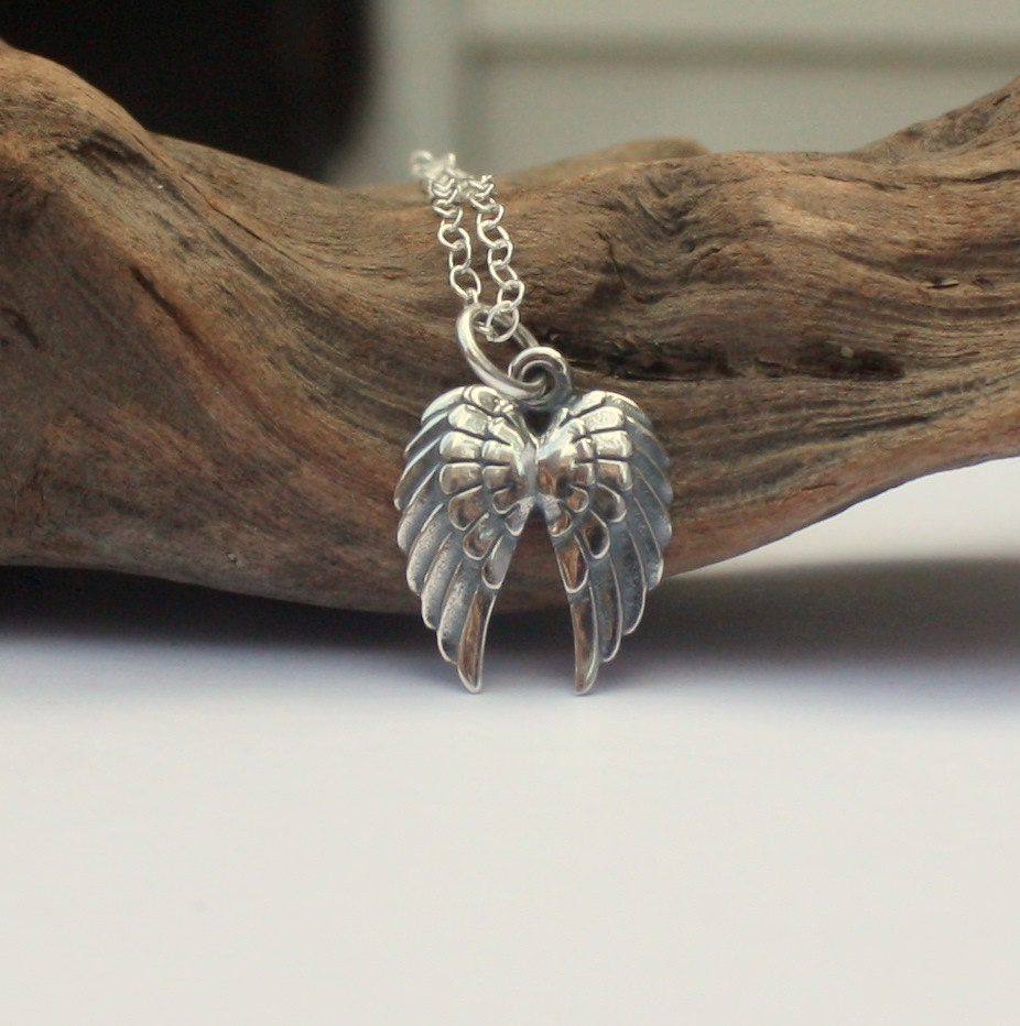 Angel Wings Necklace Sterling Silver Double Angel Wing Charm