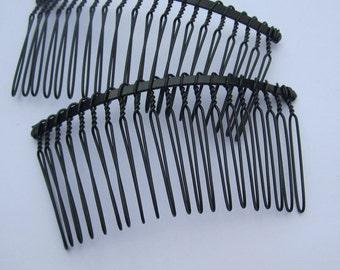 Black combs--10pcs Black Metal Hair Combs (20 teeth) 75x38mm