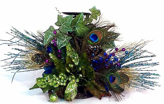 Peacock Centerpiece Floral Arrangement Candle Holder Christmas Holiday Wedding Reception by Cabin Cove Creations