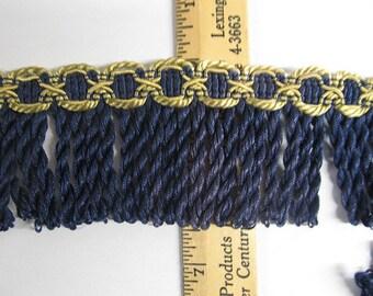 VINTAGE IMPORTED BULLION fringe navy  with  gold  header 2.5 inch