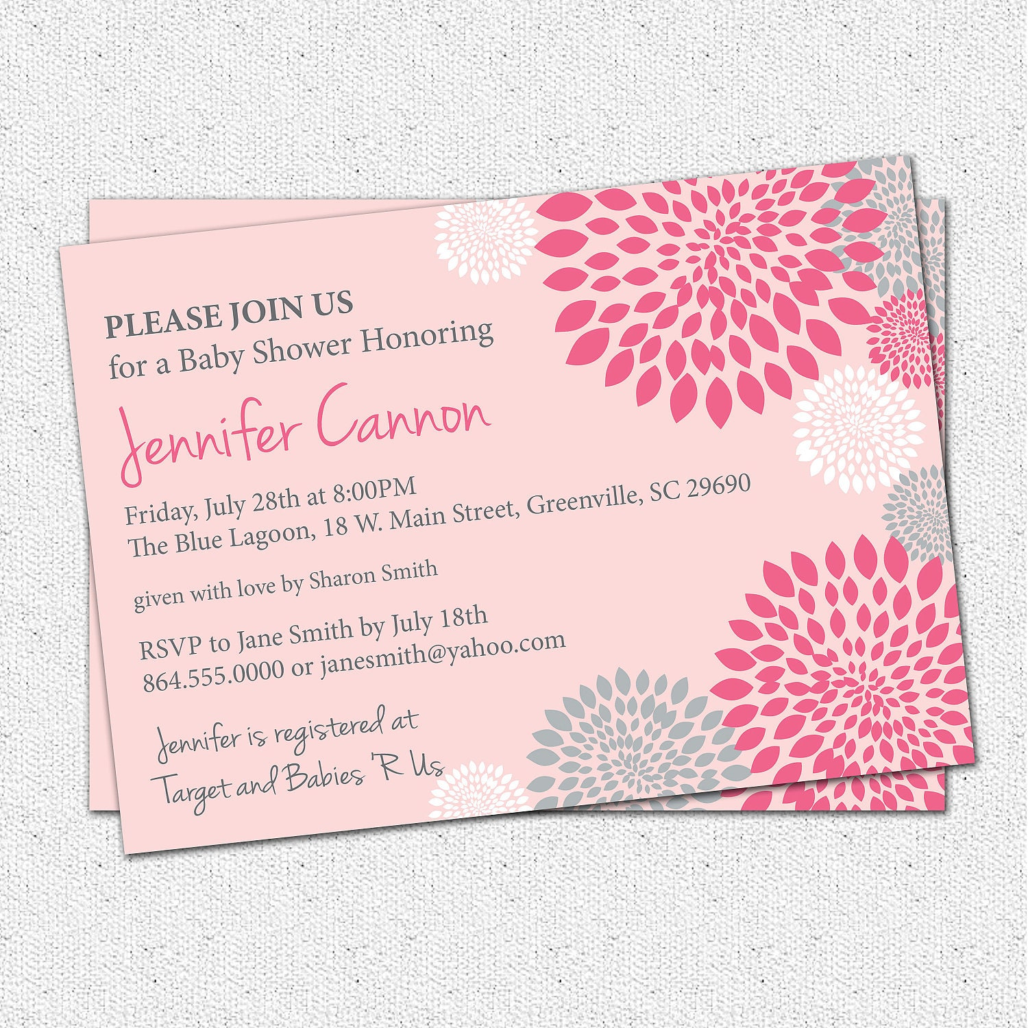 Baby Shower Invitation Girl Printable White Hot And Pale