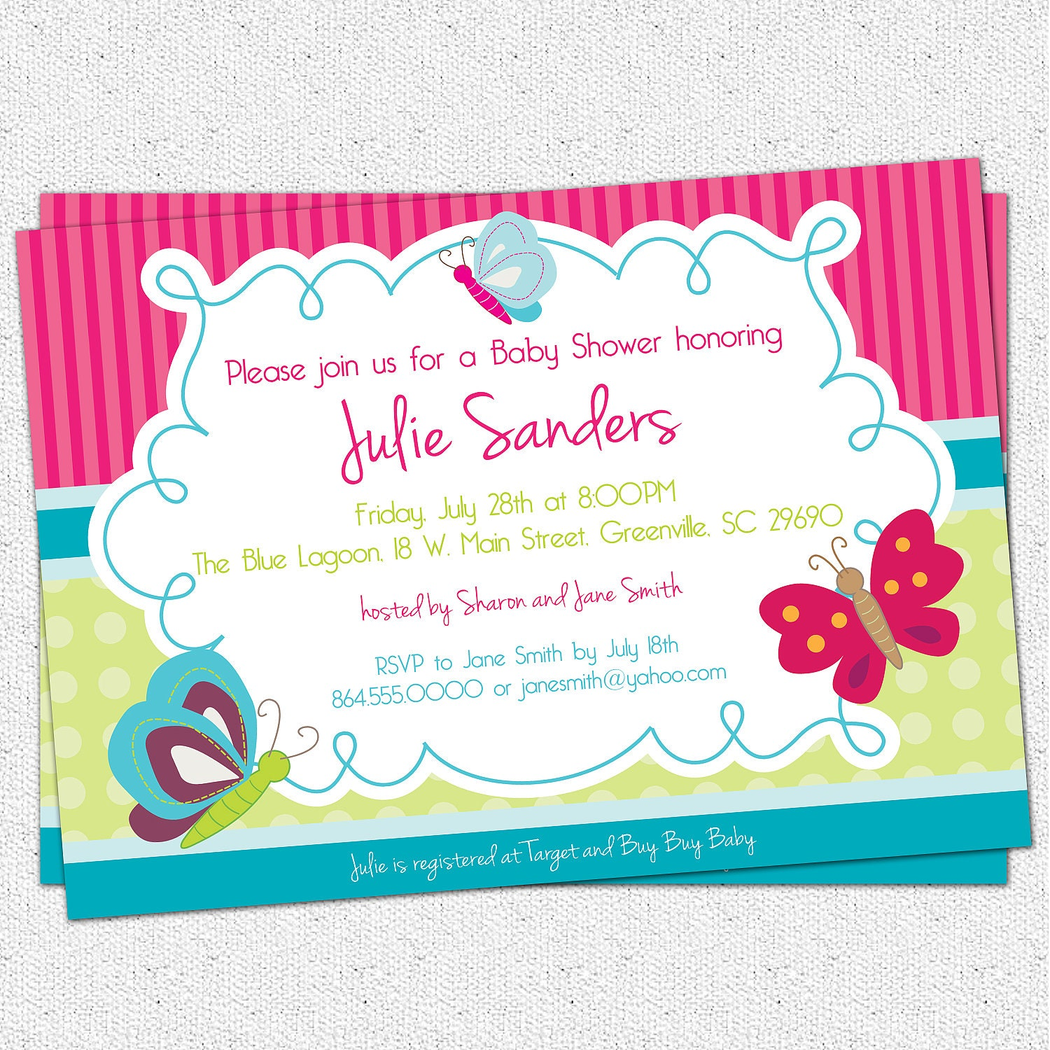 Printable Butterfly Baby Shower Invitation Butterflies – Free Customizable Printable Baby Shower Invitations