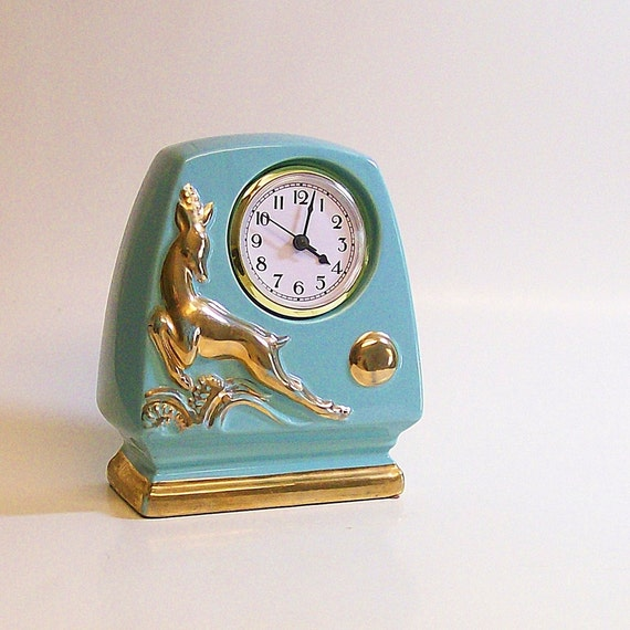 Vintage Ceramic Clock Art Deco Style Turquoise Table / Mantel
