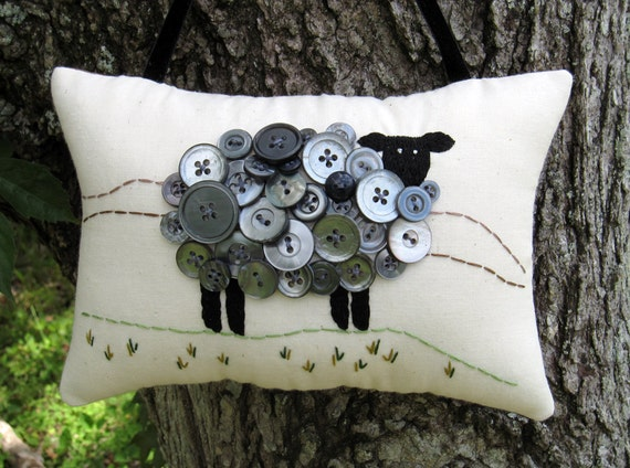 Primitive Ireland Black Sheep Embroidery Pillow - Original Design