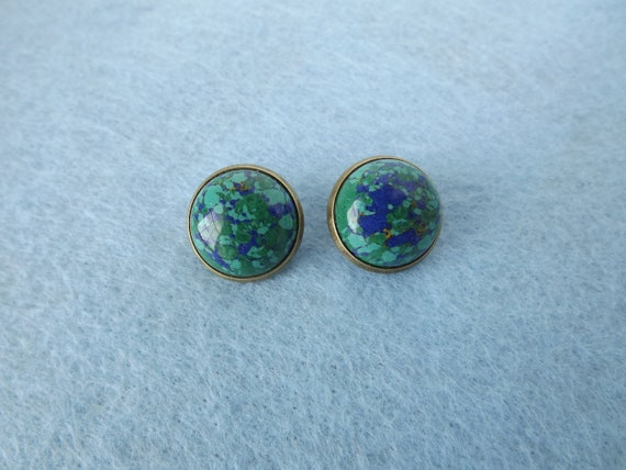 Antique Bronze/Brass Round Green & Blue Cabochon Clip-on Earrings - 12087